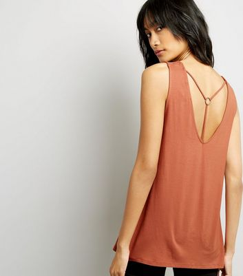 Tall Orange Harness Back Vest Top