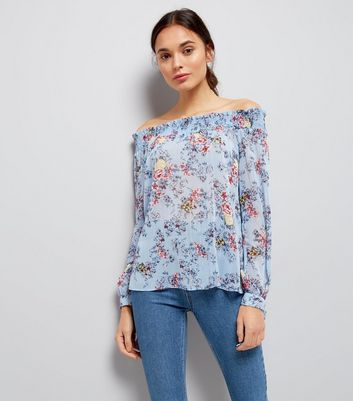 Tall Blue Floral Metallic Detail Bardot Neck Top
