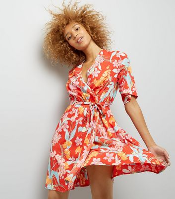 Tall Red Floral Print Wrap Front Dress