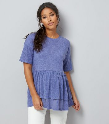 Maternity Blue Double Peplum Hem T-Shirt