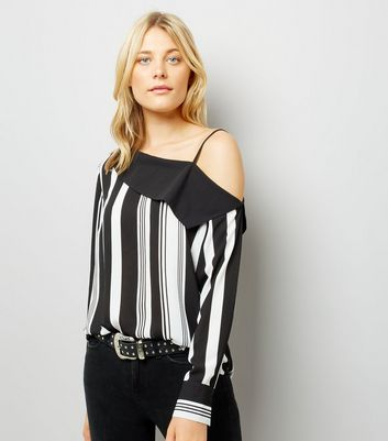 Black Stripe One Shoulder Shirt