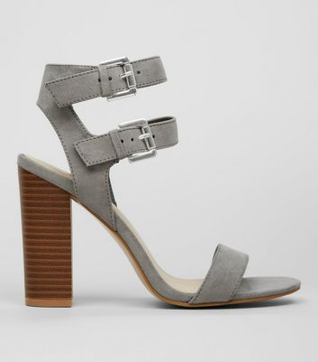 Grey Suedette Double Buckle Heeled Sandals