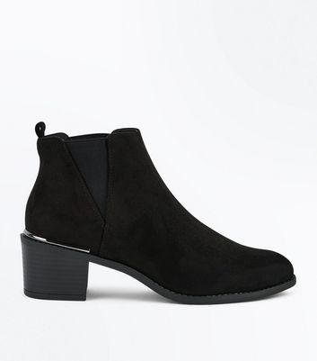 Black Metal Trim Block Heel Chelsea Boots