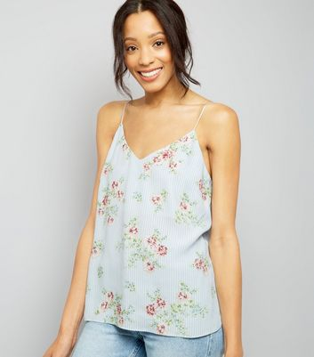 Pale Blue Stripe Floral Print V Neck Cami Top