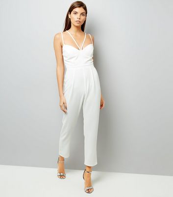 Cream Strappy Tapered Leg Jumpsuit