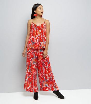 Petite Red Floral Print Wide Leg Trousers