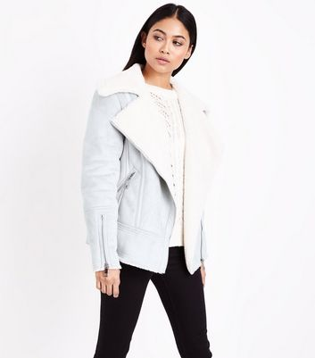 Petite Grey Suedette Faux Borg Lined Aviator Jacket