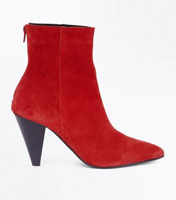 Red Leather Cone Heel Pointed Boots
