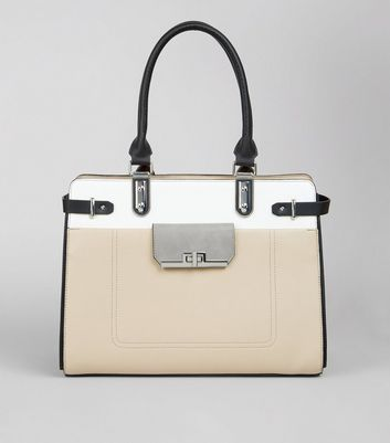 Nude Colour Block Structured Tote Bag