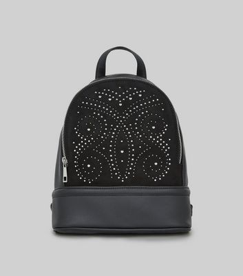 Black Contrast Panel Stud Detail Backpack