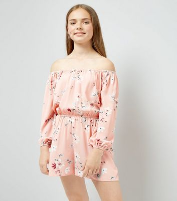 Teens Orange Floral Print Bardot Neck Playsuit