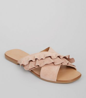 Wide Fit Pink Suede Frill Strap Mules