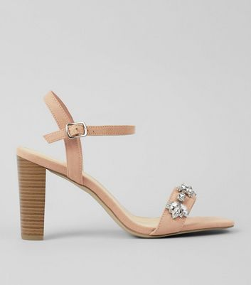 Wide Fit Cream Suedette Embellished Heeled Sandals