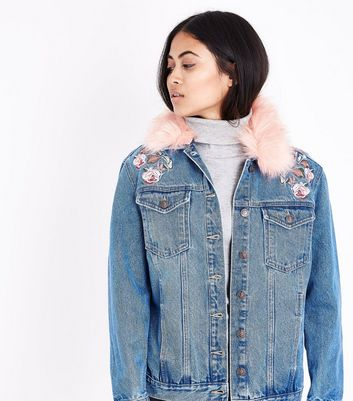 Petite Blue Faux Fur Collar Embroidered Denim Jacket