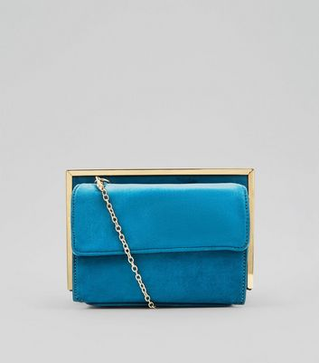 Blue Suedette Metallic Framed Shoulder Bag