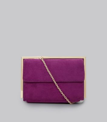 Purple Suedette Metallic Framed Shoulder Bag