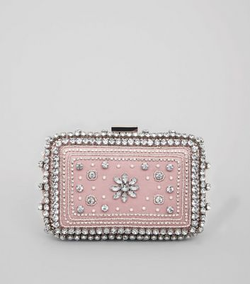 Pink Diamante Embellished Clutch Bag