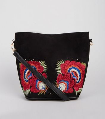 Black Floral Embroidered Bucket Bag