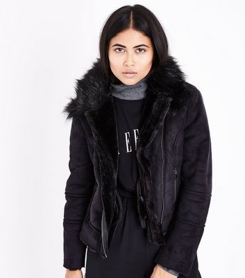 Petite Black Suedette Faux Fur Lined Aviator Jacket