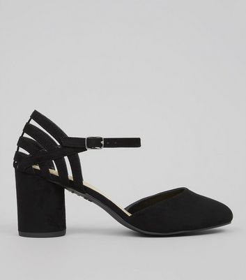 Wide Fit Black Suedette Cylindrical Heeled Courts