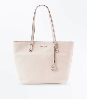 Cream Leather-Look Branded Tote Bag