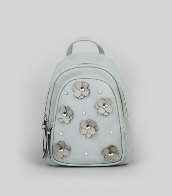 Pale Grey Floral Embellished Mini Backpack