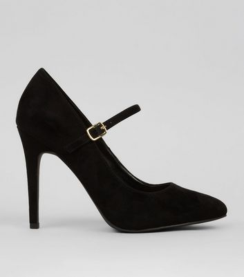 Wide Fit Black Suedette Strap Top Court Shoes