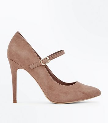 Wide Fit Brown Suedette Mary Jane Court Shoes