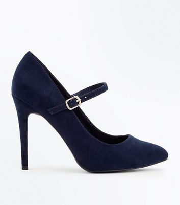 Wide Fit Navy Suedette Mary Jane Court Shoes