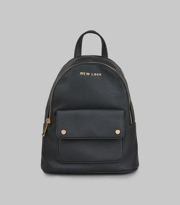 Black Leather-Look Branded Backpack