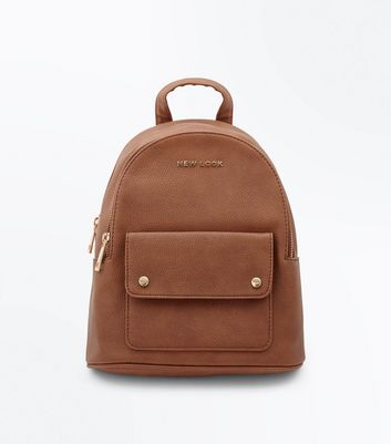 Tan New Look Branded Backpack