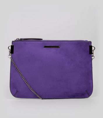 Purple Suedette Curve Flat Clutch