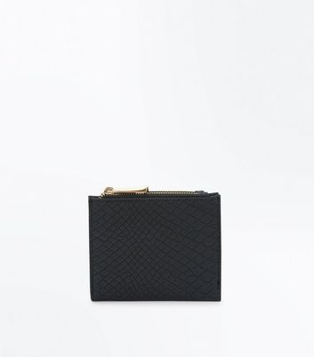 Black Matte Faux Snakeskin Purse