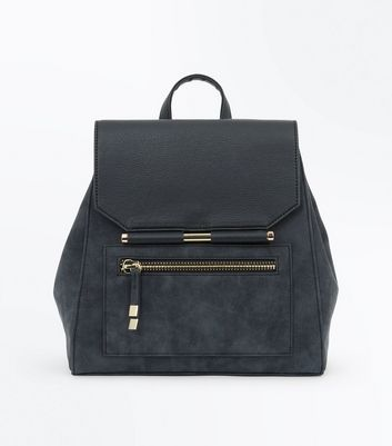 Grey Contrast Metal Bar Backpack