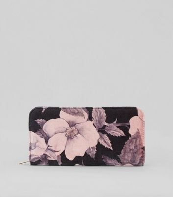 Pink Floral Print Velvet Zip Around Purse