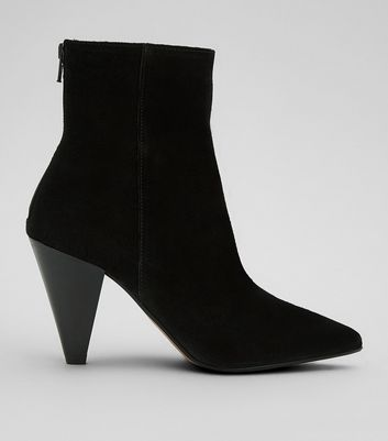 Black Cone Heeled Ankle Boots