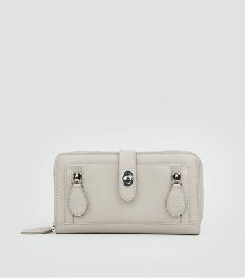 Grey Double Zip Push Zip Around Lock Purse