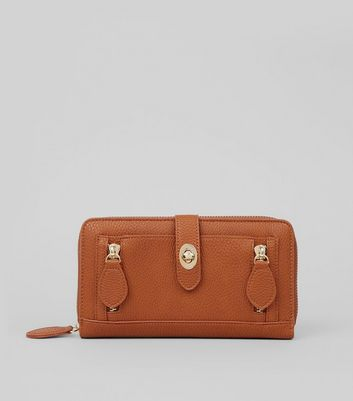 Tan Double Zip Push Zip Around Lock Purse
