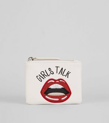 White Embroidered Glitter Lips Slogan Zip Top Purse