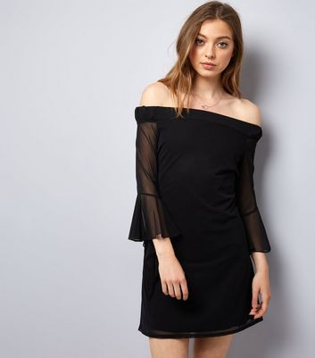 Blue Vanilla Black Frill Mesh Sleeve Dress