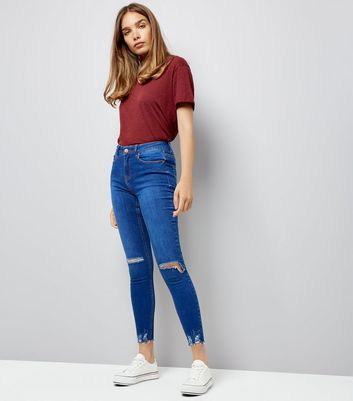 Dark Blue Ripped Knee Frayed Hem High Waist Skinny Jenna Jeans