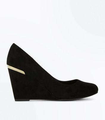 Wide Fit Black Comfort Flex Suedette Wedge Heels | New Look