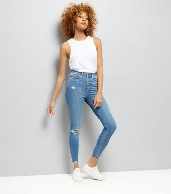 Blue High Waist Button Front Ripped Skinny Jeans