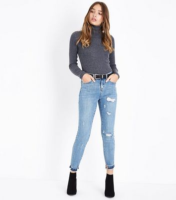Blue Ripped Knee and Hem Skinny Jeans