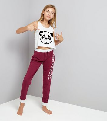 Ados - Ensemble de pyjama bordeaux « Can't Bear Mondays »