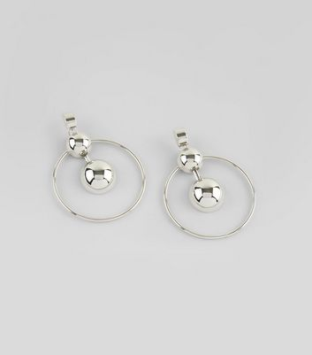 Silver Two Orb Hoop Earrings