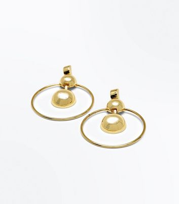 Gold Two Ball Hoop Earring