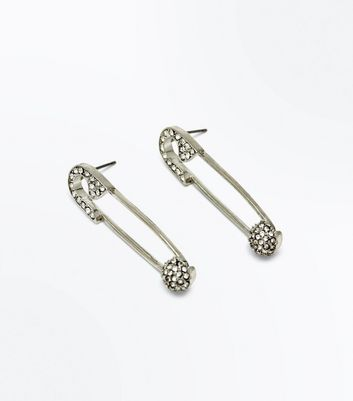 Silver Diamante Embellished Safety Pin Earrings