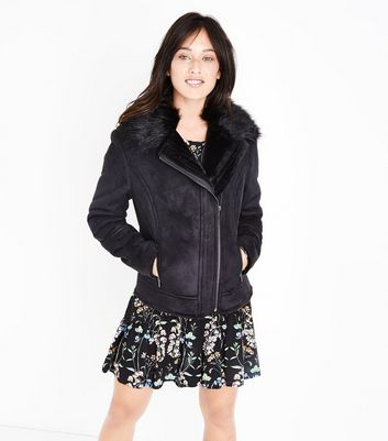 Tall Black Suedette Faux Fur Lined Biker Jacket