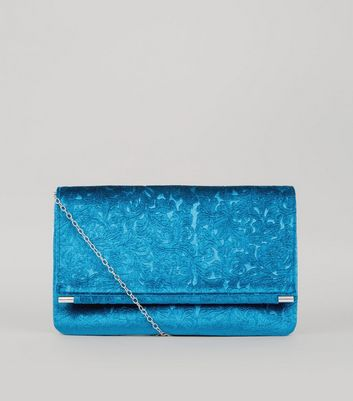 Blue Velvet Embossed Clutch